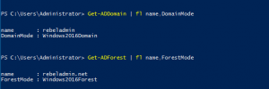 Get-ADDomain | Nama, DomainMode dan Get-ADForest | Fl Name, ForestMode dari powershell