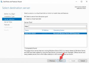 select destenation server